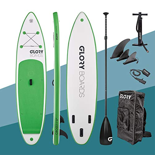 Glory Boards  2020 - Stand up Paddling Board aufblasbar – bis 180kg Tragkraft – komplettes SUP Set inkl. Paddel, Pumpe, Rucksack – Kajak und Windsurf Option - SUP Board