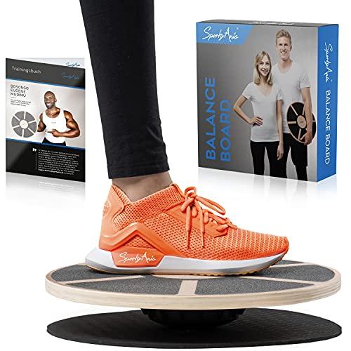 SportyAnis Premium Balance-Board Holz inkl. Übungsbuch und optional Unterlegmatte, Durchmesser 40 cm - Therapiekreisel für Physiotherapie zur Stärkung der Tiefenmuskulatur (mit Unterlegsmatte)