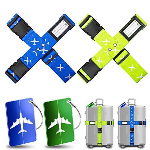 Koffergurt Kofferband Yosemy 4 Stück Gepäckgurt Einstellbare Kofferband 2 Stück Kofferanhänger Koffer Kofferband Gepäckband Sicher Reisen Verschließen der Koffers auf Reisen (Blau und Grün)