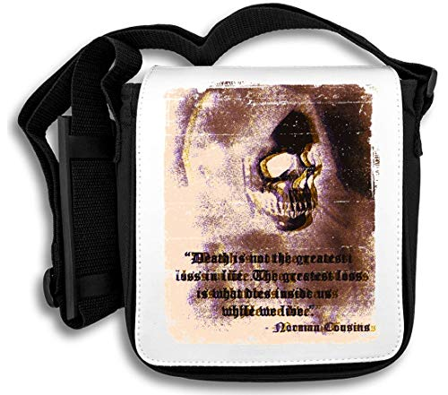 Death is Not The Greatest Loss In Life | Crepy Skull | Best Phrases | Cool T Shirt | Nice to | Super | Osom Words | Popular Quotes Schultertasche