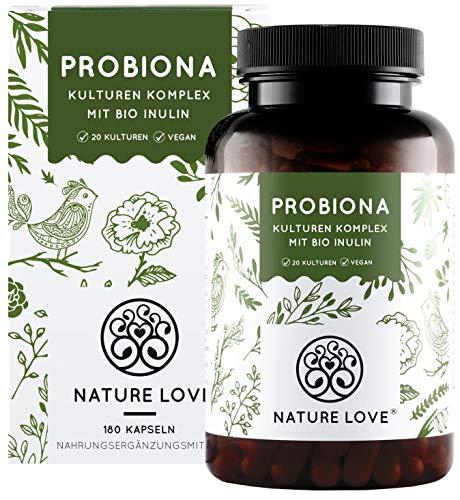 NATURE LOVE Probiona Komplex - 20 Bakterienstämme + Bio Inulin - 180 magensaftresistente DRCaps Kapseln - 2X hochdosiert: 20 Mrd KBE je Tagesdosis - Vegan, in Deutschland produziert