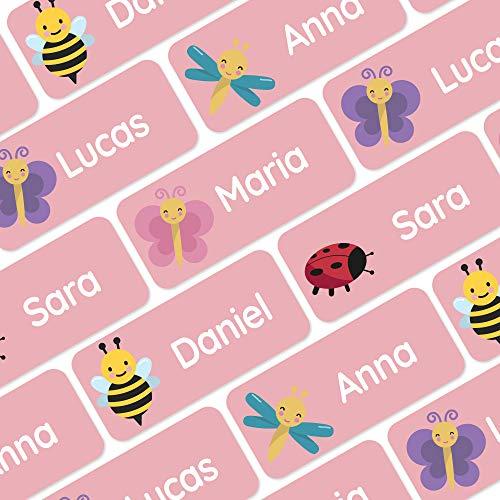 120 personalisierte Namensaufkleber (30x13 mm) zum Markieren von Kleidung und Gegenständen. Wasserfeste Klebeetiketten für Kinder, Schule und Kindergarten - Insekten - Rosa
