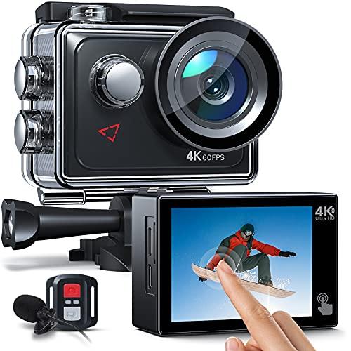 AC920 Action cam Touchscreen-Actionkamera 4K 60FPS mit 8-fachem Zoom, Doppelmikrofon, Fernbedienung, verbessertem EIS, 40-m-Unterwasserkamera, PC-Webcam mit 2 x 1350 mAh Akkus und Zubehör