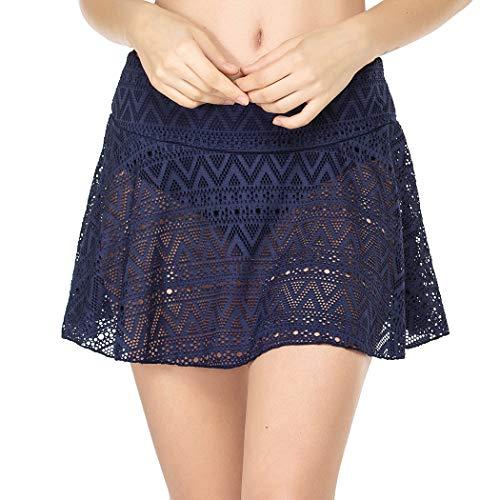 Balancora Baderock Damen Navyblue mit Integrierter UV-Schutze Badeshorts Schnell Trocken Sport Bikini mit Rock Spitzen Strandrock