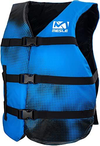 MESLE One-Size Schwimmweste Sportsman Adult, Universal-Größe bis 100+ kg, 50-N Auftriebsweste, SUP Wasserski Paddeln Wakeboard Schnorcheln Kajak, Erwachsene & Jugendliche, Farbe:blau, Größe:Adult