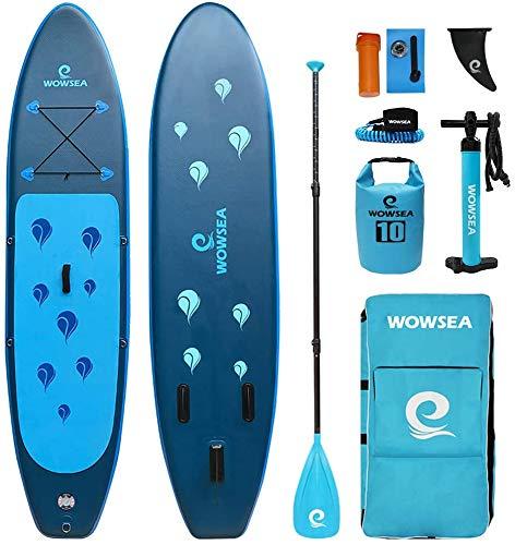WOWSEA Waterdrop Aufblasbares Stand Up Paddle Board   305cm L x 80cm W x 15cm H   Langlebiges und Stabiles Freizeit Paddel SUP   Touren & Yoga iSUP   Blau