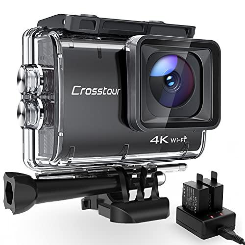 Action Cam 4K, Crosstour CT9500 Unterwasserkamera, WiFi Helmkamera 40M Wasserdicht EIS 2X1350mAh Akkus und Akkuladegerät