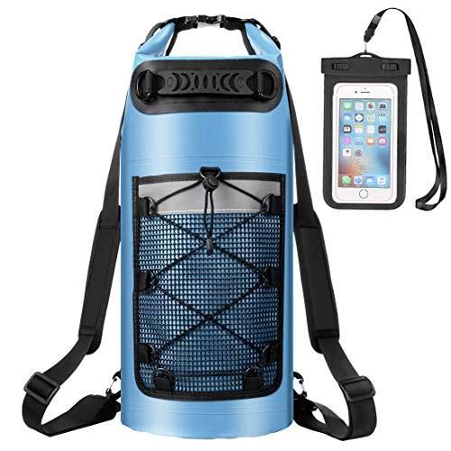 ALEENUN Dry Bag, Wasserdicht Taschen,Wasserdichter Packsack mit Handy Dry Tasche und Lang Verstellbarer Schultergurt- Gr. 10L, Blau