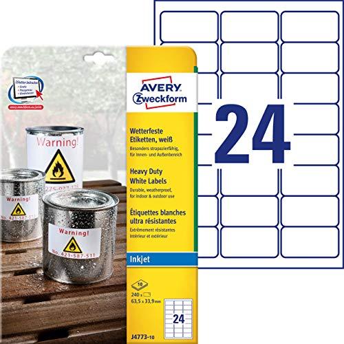 AVERY Zweckform J4773-10 Wetterfeste Folienetiketten (63,5x33,9 mm auf DIN A4, Inkjet, extrem stark selbstklebend, bedruckbare Outdoor Klebefolie) 240 Aufkleber auf 10 Blatt weiß