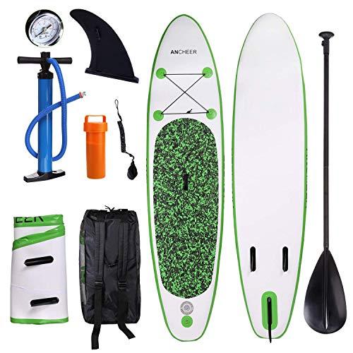YUEBO 305cm Aufblasbares SUP Stand-up Paddel Board 15cm(6 Inch) Dick, iSUP Paddle Board mit Doppelhub-Pumpe + verstellbares Paddel aus 3 zerlegbaren Teilen + großer Rucksack + Knöchelband