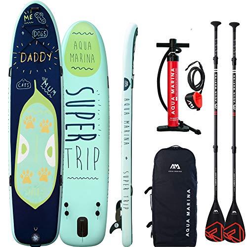 Aqua Marina Super Trip Board mit 2 Stück Carbon Nylon Paddel und Leash