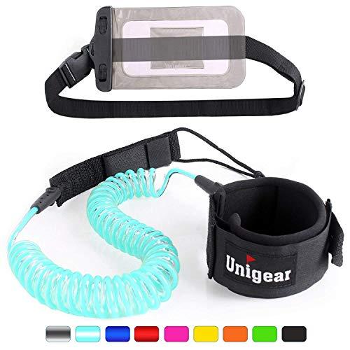 Unigear Surfboard Leash, 7mm&10Ft Aufgerollte TPU Paddle Leash für Stand up Paddle Board Surfboard mit wasserdichte Handytasche (Hellblau)