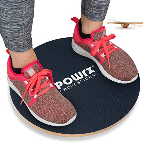 POWRX Balance Board Wackelbrett inkl. Workout I Balance Trainer aus Holz 45/50 cm I Therapiekreisel für Propriozeptives Training und Physiotherapie