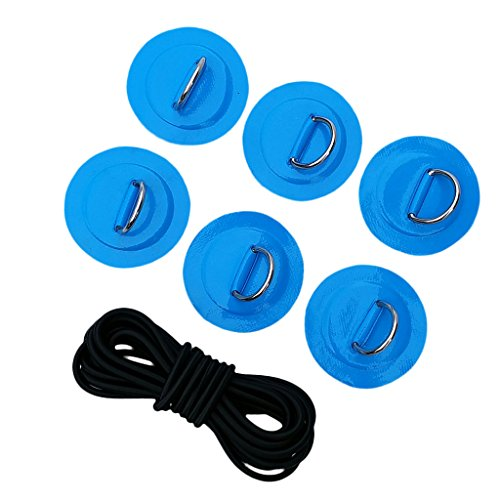 CUTICATE Stand Up Paddleboard SUP Bungee Deck Rigging Anbausatz D Ring Pad Patch - Blau