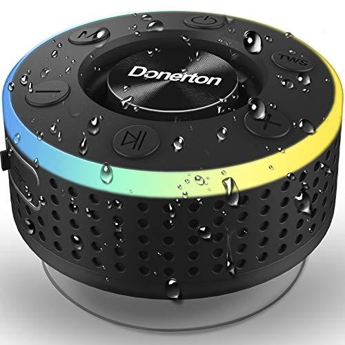 Bluetooth Lautsprecher, Bluetooth Box Tragbarer Musikbox, IP7 Wasserschutz Bluetooth Speaker mit Bass-Treibern, Kabelloser Lautsprecher mit LED Licht, Freisprechfunktion für Handy, FM Radio