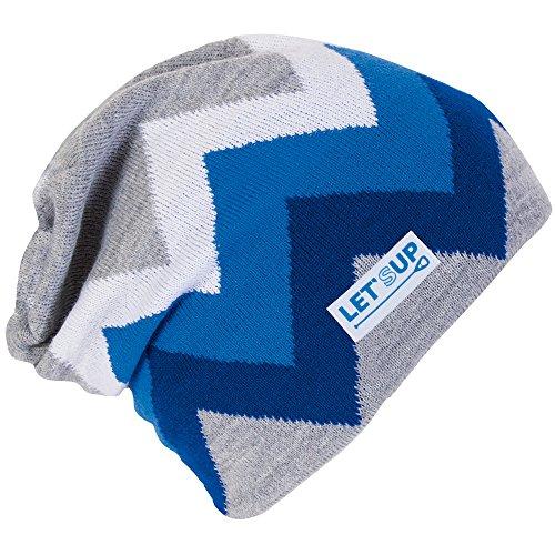 Zacki grau blau LET'SUP Mütze gestrickt OHNE Bommel Zacken Beanie SUP