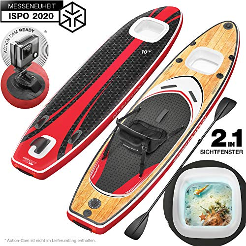 Messe-Neuheit 2020! Premium WBX SUP-Board mit 2in1 Sichtfenster | Action-Cam Ready +9in1 Set | Deutsche Qualitätsmarke | Aufblasbares Stand Up Paddel Board |Wassersport Kajak Sitz | Paddling Surfbrett