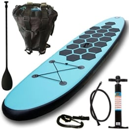 Aquaparx Sup 335 x 78 x 15 cm Inflatable Isup Aufblasbar Alu-Paddel Marin Rucksack Pumpe Stand Up Paddle Board Set, türkis-blau/Schwarz -